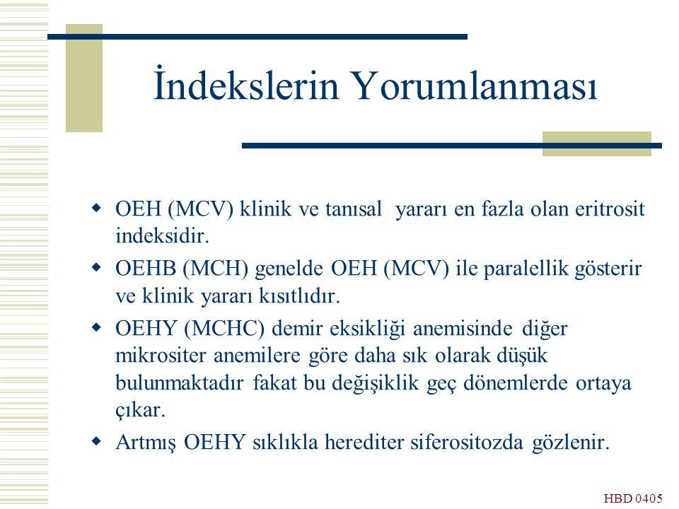 HBD 0405 İndekslerin Yorumlanması  OEH (MCV) klinik ve tanısal yararı en fazla olan eritrosit indeksidir.  OEHB (MCH) genelde OEH (MCV) ile paralell