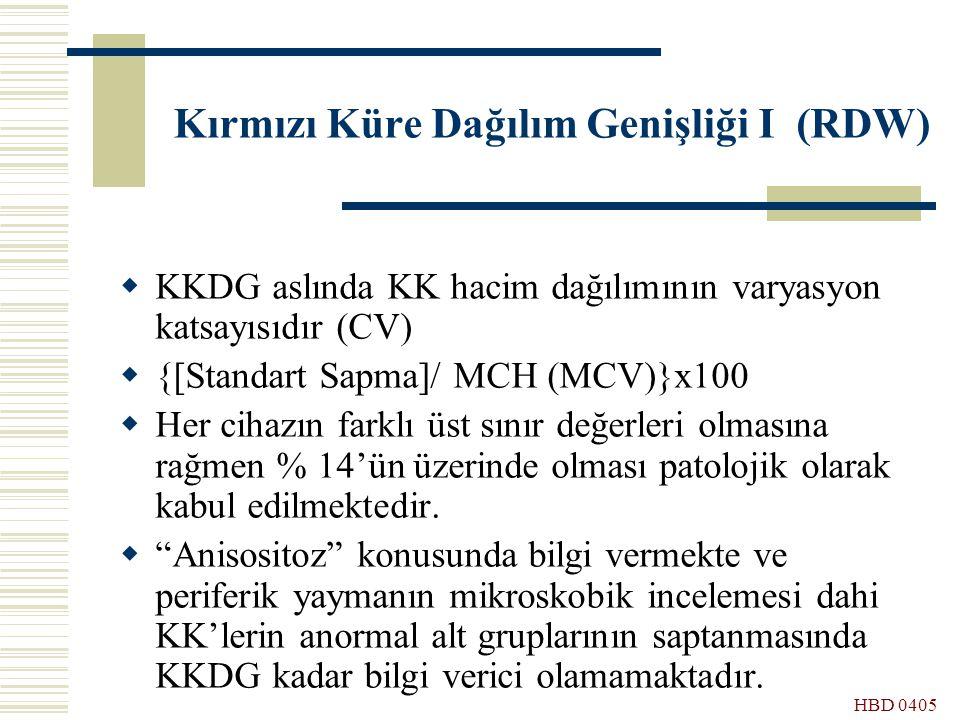 HBD 0405 Kırmızı Küre Dağılım Genişliği I (RDW)  KKDG aslında KK hacim dağılımının varyasyon katsayısıdır (CV)  {[Standart Sapma]/ MCH (MCV)}x100 
