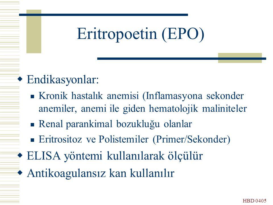 HBD 0405 Eritropoetin (EPO)  Endikasyonlar: Kronik hastalık anemisi (Inflamasyona sekonder anemiler, anemi ile giden hematolojik maliniteler Renal pa