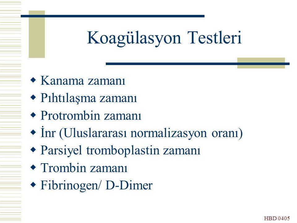 HBD 0405 Koagülasyon Testleri  Kanama zamanı  Pıhtılaşma zamanı  Protrombin zamanı  İnr (Uluslararası normalizasyon oranı)  Parsiyel tromboplasti