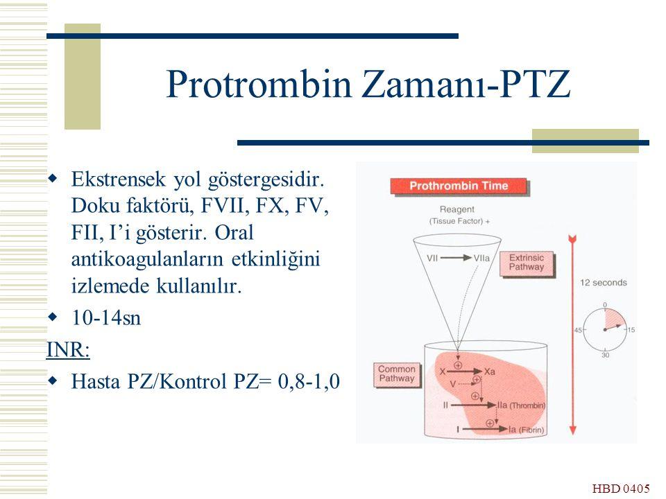 HBD 0405 Protrombin Zamanı-PTZ  Ekstrensek yol göstergesidir. Doku faktörü, FVII, FX, FV, FII, I'i gösterir. Oral antikoagulanların etkinliğini izlem