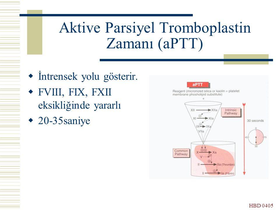 HBD 0405 Aktive Parsiyel Tromboplastin Zamanı (aPTT)  İntrensek yolu gösterir.  FVIII, FIX, FXII eksikliğinde yararlı  20-35saniye