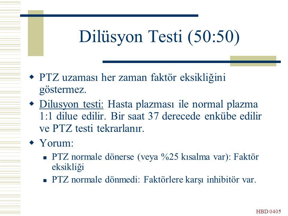 HBD 0405 Dilüsyon Testi (50:50)  PTZ uzaması her zaman faktör eksikliğini göstermez.  Dilusyon testi: Hasta plazması ile normal plazma 1:1 dilue edi