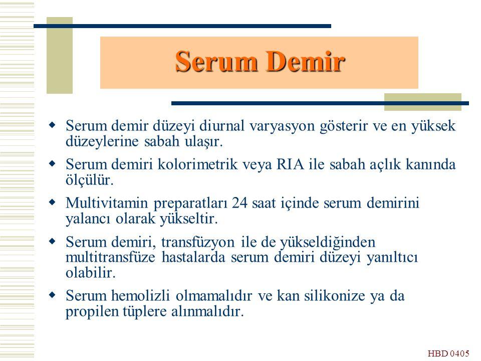 HBD 0405 Serum Demir  Serum demir düzeyi diurnal varyasyon gösterir ve en yüksek düzeylerine sabah ulaşır.  Serum demiri kolorimetrik veya RIA ile s