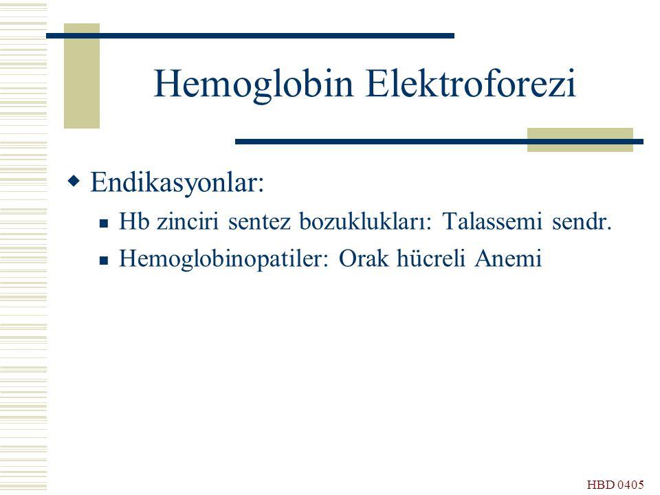 HBD 0405 Hemoglobin Elektroforezi  Endikasyonlar: Hb zinciri sentez bozuklukları: Talassemi sendr. Hemoglobinopatiler: Orak hücreli Anemi