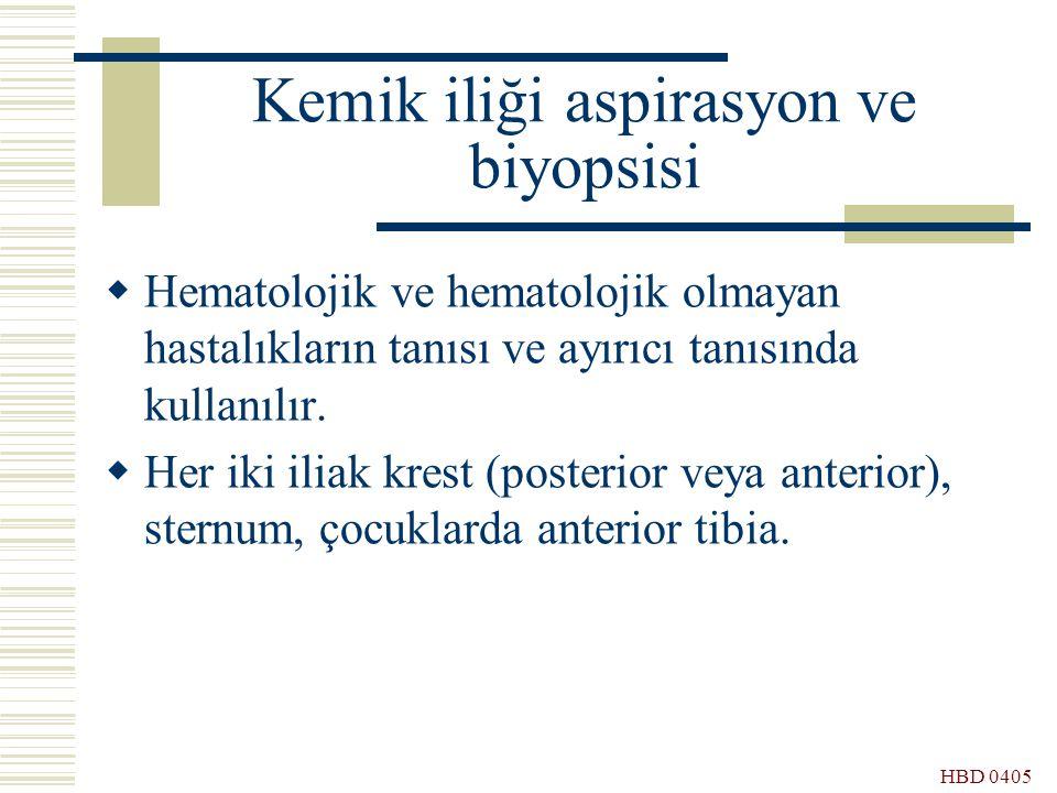 HBD 0405 Kemik iliği aspirasyon ve biyopsisi  Hematolojik ve hematolojik olmayan hastalıkların tanısı ve ayırıcı tanısında kullanılır.  Her iki ilia