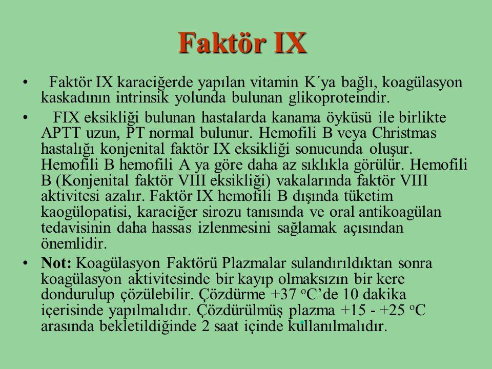 Faktör IX Faktör IX karaciğerde yapılan vitamin K´ya bağlı, koagülasyon kaskadının intrinsik yolunda bulunan glikoproteindir. FIX eksikliği bulunan ha