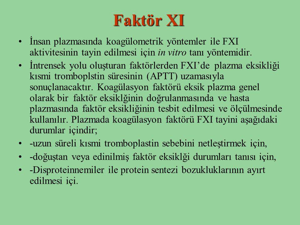 Faktör XI İnsan plazmasında koagülometrik yöntemler ile FXI aktivitesinin tayin edilmesi için in vitro tanı yöntemidir. İntrensek yolu oluşturan faktö