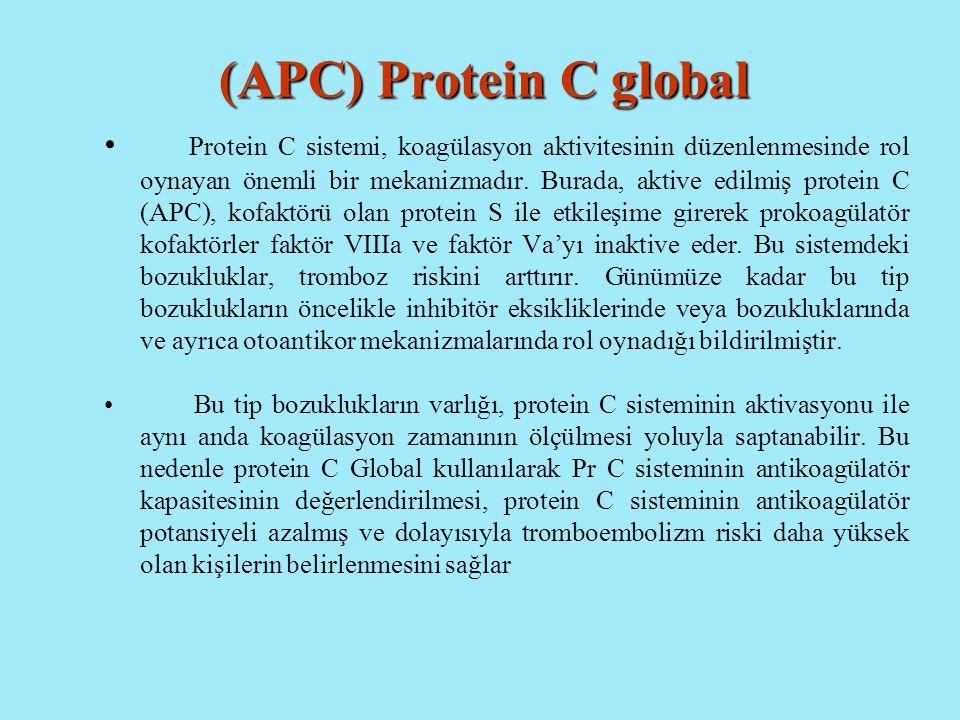 (APC) Protein C global Protein C sistemi, koagülasyon aktivitesinin düzenlenmesinde rol oynayan önemli bir mekanizmadır. Burada, aktive edilmiş protei