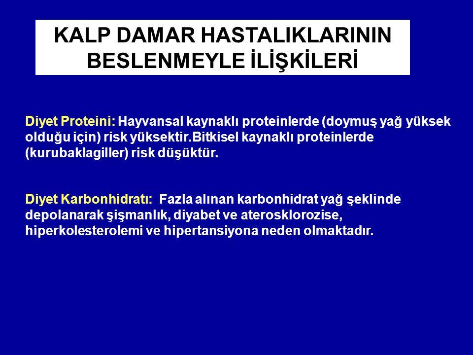 KALP DAMAR HASTALIKLARININ BESLENMEYLE İLİŞKİLERİ Diyet Proteini: Hayvansal kaynaklı proteinlerde (doymuş yağ yüksek olduğu için) risk yüksektir.Bitkisel kaynaklı proteinlerde (kurubaklagiller) risk düşüktür.