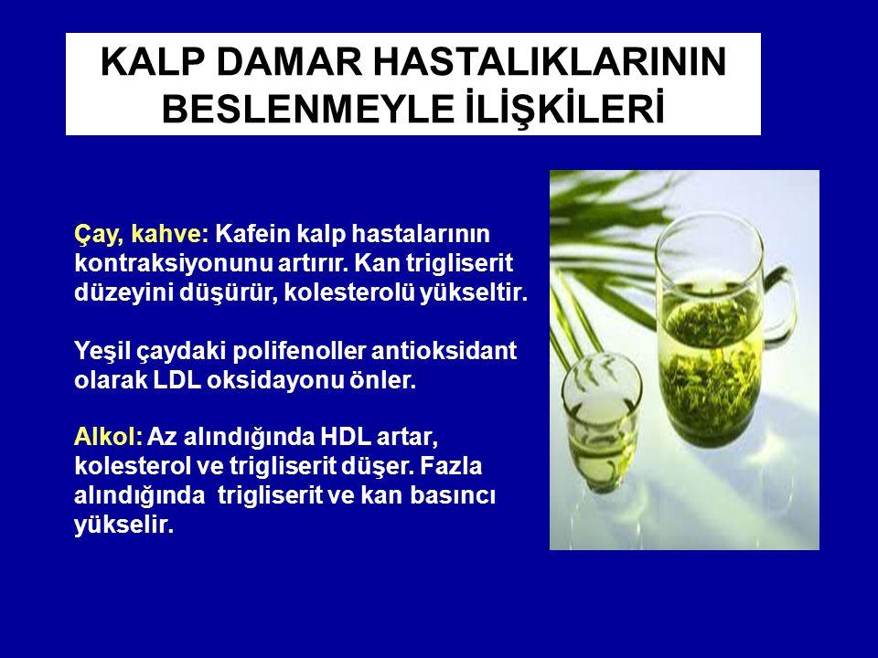 Alkol: Az alındığında HDL artar, kolesterol ve trigliserit düşer. Fazla alındığında trigliserit ve kan basıncı yükselir. Çay, kahve: Kafein kalp hasta