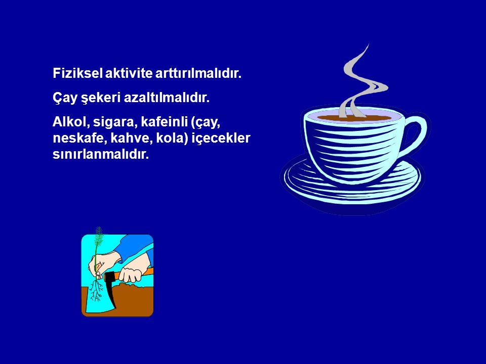 Fiziksel aktivite arttırılmalıdır. Çay şekeri azaltılmalıdır. Alkol, sigara, kafeinli (çay, neskafe, kahve, kola) içecekler sınırlanmalıdır.