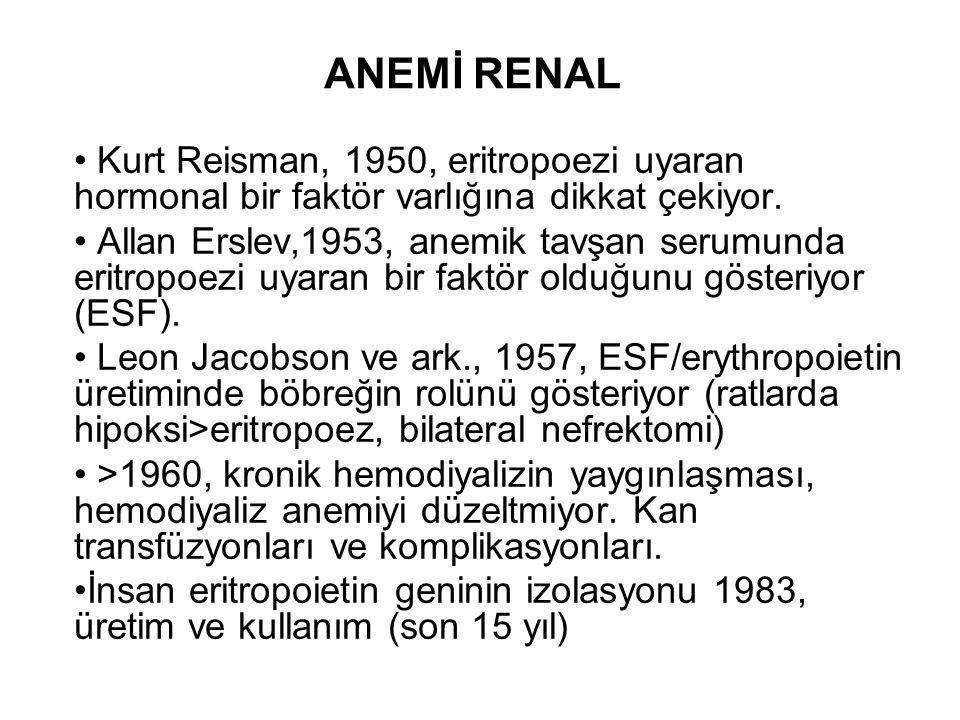 ANEMİ RENAL Kurt Reisman, 1950, eritropoezi uyaran hormonal bir faktör varlığına dikkat çekiyor.