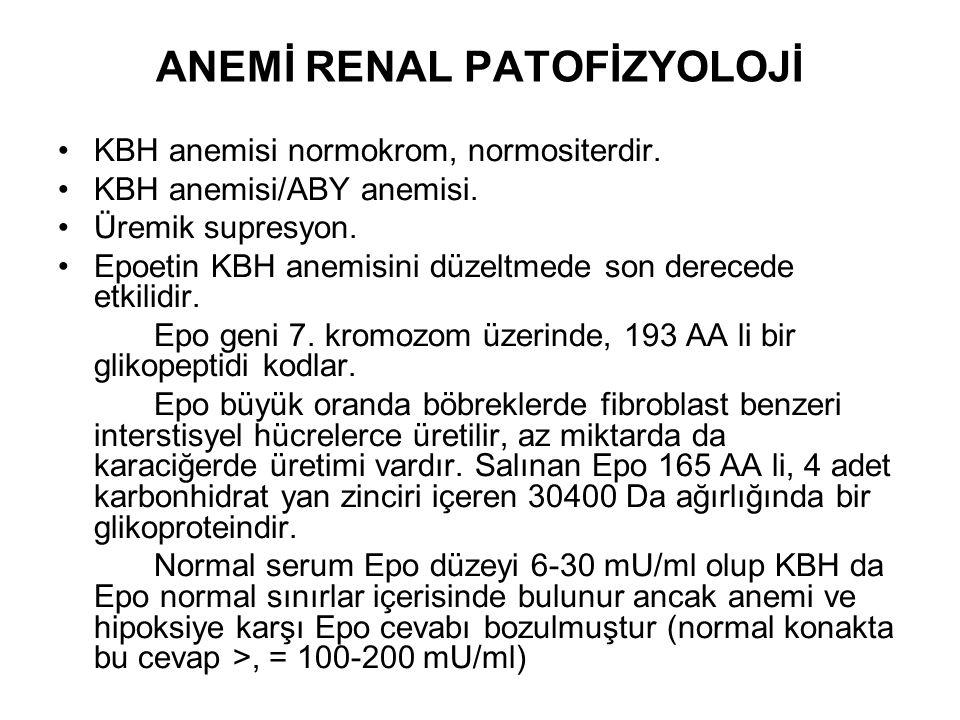 ANEMİ RENAL PATOFİZYOLOJİ KBH anemisi normokrom, normositerdir.