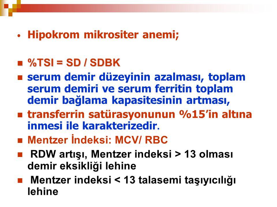 Hipokrom mikrositer anemi; %TSI = SD / SDBK %TSI = SD / SDBK serum demir düzeyinin azalması, toplam serum demiri ve serum ferritin toplam demir bağlam