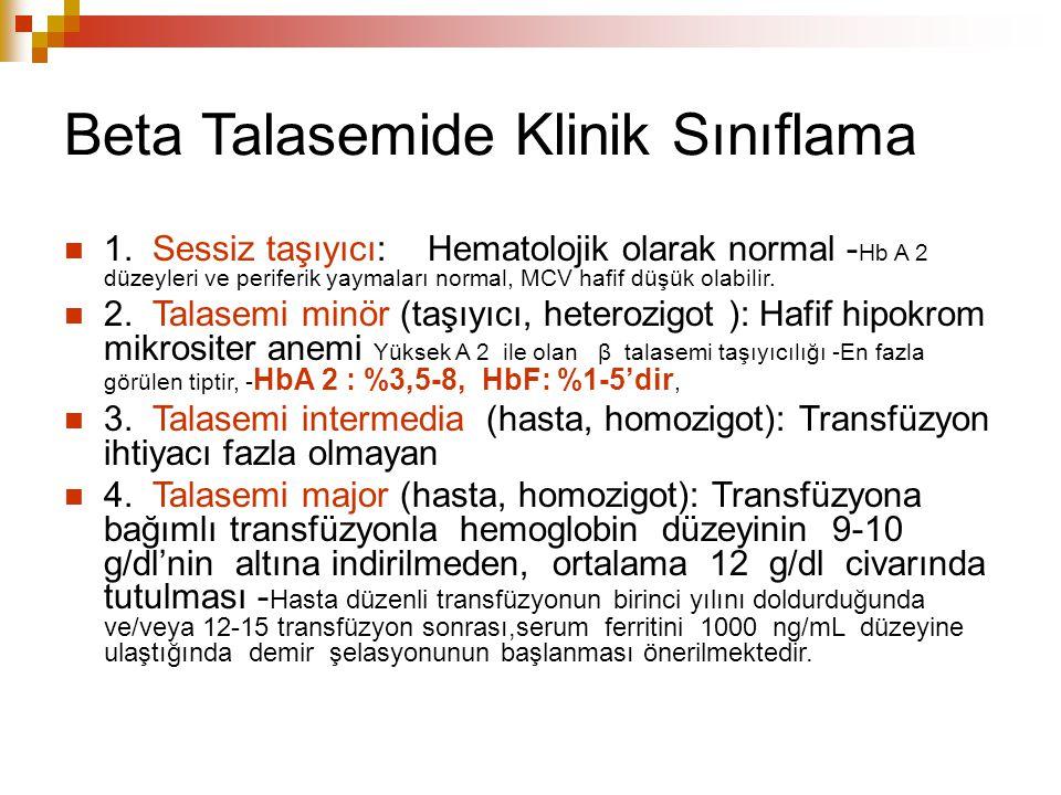 Beta Talasemide Klinik Sınıflama 1. Sessiz taşıyıcı: Hematolojik olarak normal - Hb A 2 düzeyleri ve periferik yaymaları normal, MCV hafif düşük olabi