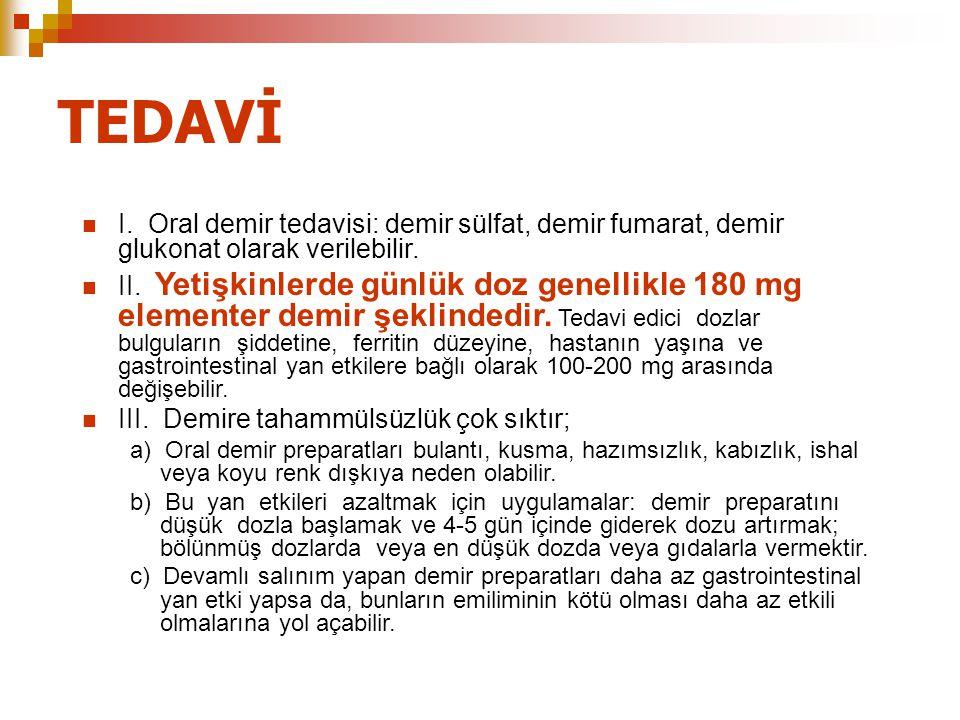 TEDAVİ I. Oral demir tedavisi: demir sülfat, demir fumarat, demir glukonat olarak verilebilir. II. Yetişkinlerde günlük doz genellikle 180 mg elemente