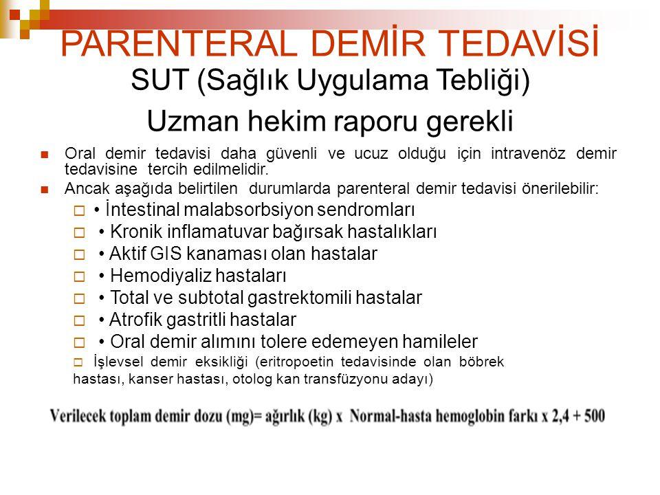PARENTERAL DEMİR TEDAVİSİ SUT (Sağlık Uygulama Tebliği) Uzman hekim raporu gerekli Oral demir tedavisi daha güvenli ve ucuz olduğu için intravenöz dem