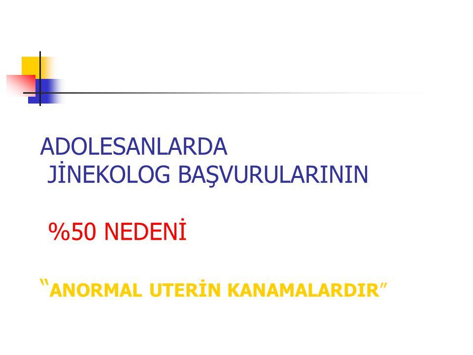 """ADOLESANLARDA JİNEKOLOG BAŞVURULARININ %50 NEDENİ """" ANORMAL UTERİN KANAMALARDIR"""""""