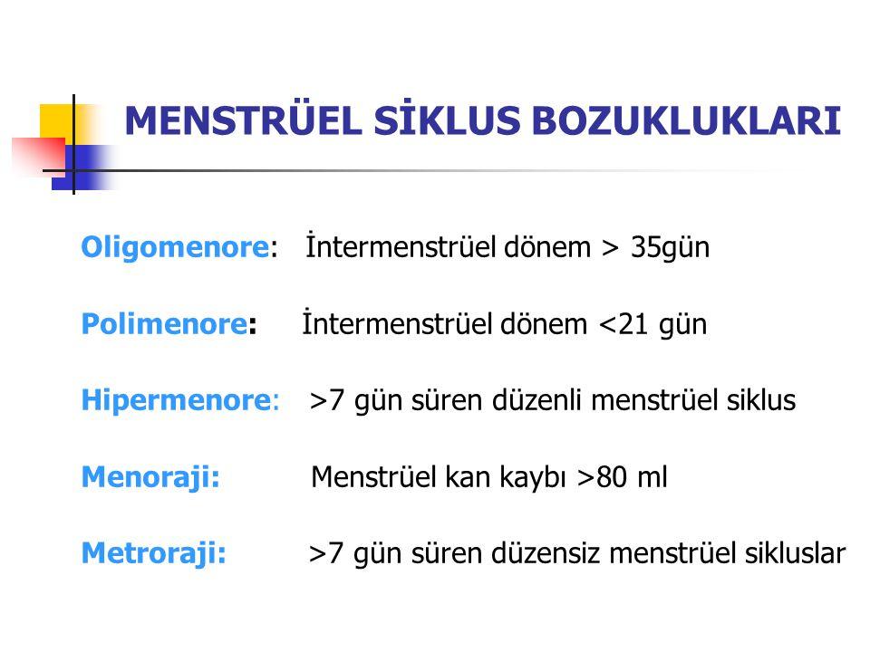 MENSTRÜEL SİKLUS BOZUKLUKLARI Oligomenore: İntermenstrüel dönem > 35gün Polimenore: İntermenstrüel dönem <21 gün Hipermenore: >7 gün süren düzenli men