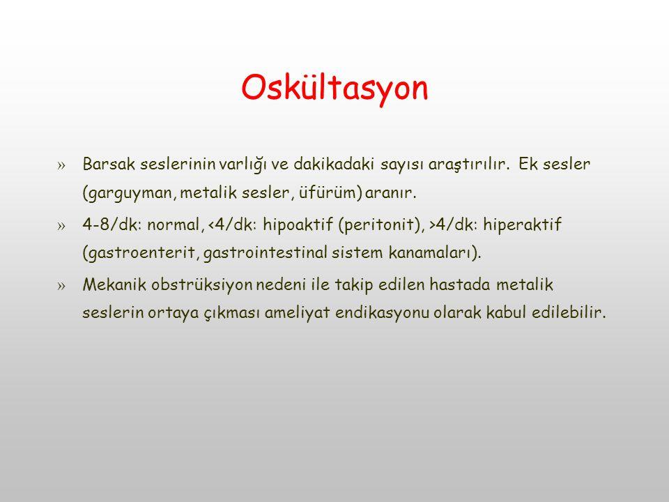 Oskültasyon » Barsak seslerinin varlığı ve dakikadaki sayısı araştırılır.