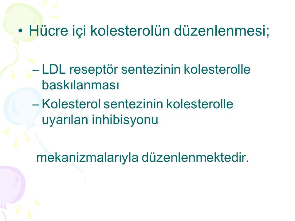 Hücre içi kolesterolün düzenlenmesi; –LDL reseptör sentezinin kolesterolle baskılanması –Kolesterol sentezinin kolesterolle uyarılan inhibisyonu mekanizmalarıyla düzenlenmektedir.
