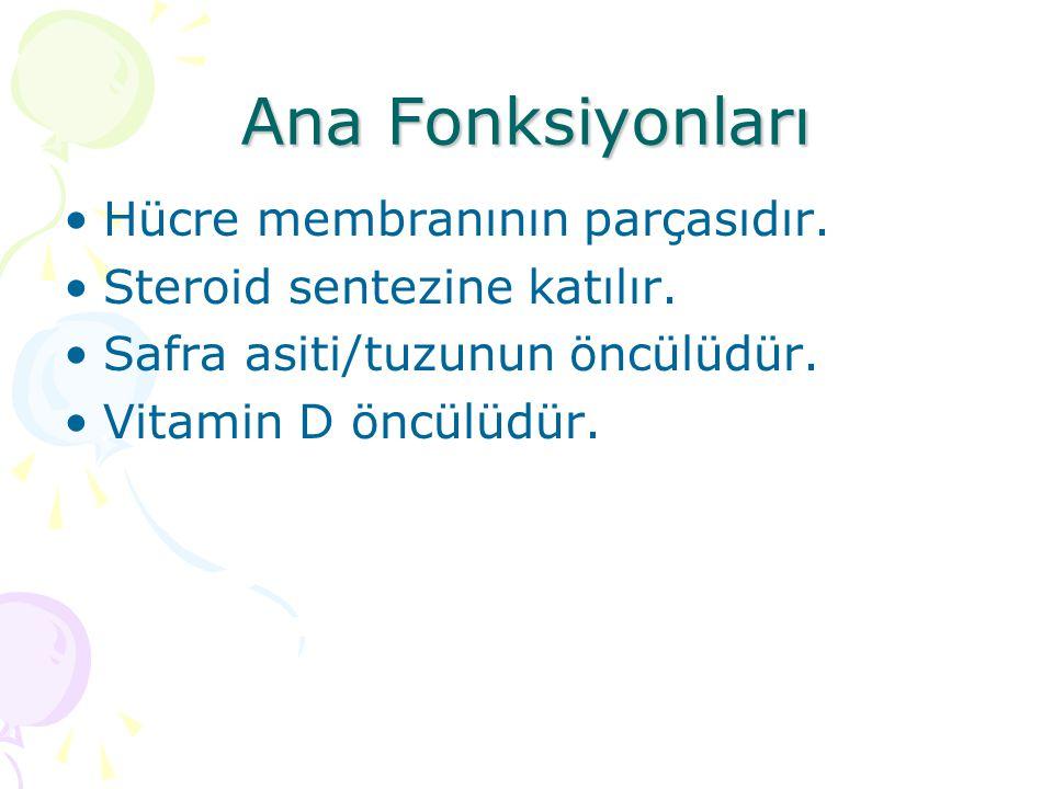 Ana Fonksiyonları Hücre membranının parçasıdır.Steroid sentezine katılır.