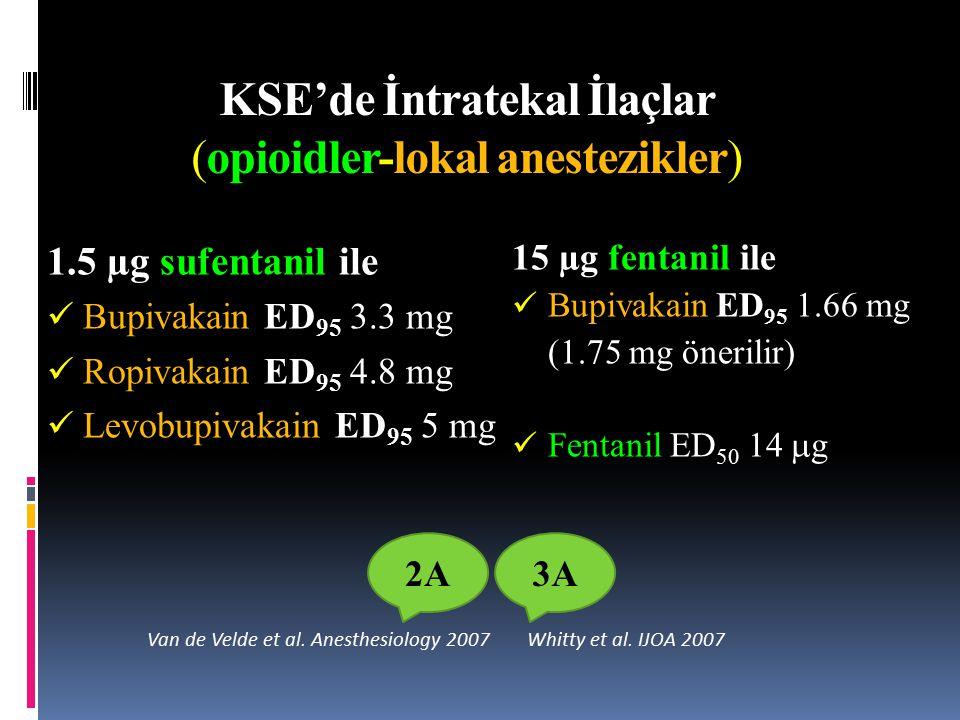 KSE'de İntratekal İlaçlar (opioidler-lokal anestezikler) 1.5 µg sufentanil ile ED 95 Bupivakain ED 95 3.3 mg ED 95 Ropivakain ED 95 4.8 mg ED 95 Levobupivakain ED 95 5 mg Van de Velde et al.
