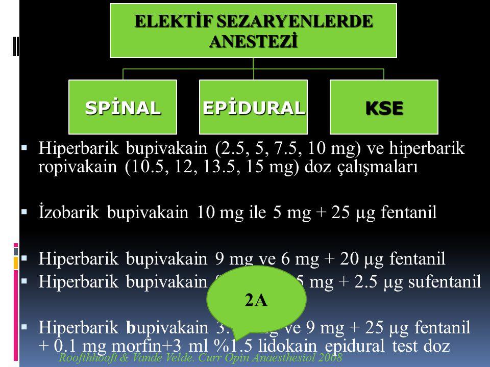 Roofthhooft & Vande Velde. Curr Opin Anaesthesiol 2008  Hiperbarik bupivakain (2.5, 5, 7.5, 10 mg) ve hiperbarik ropivakain (10.5, 12, 13.5, 15 mg) d