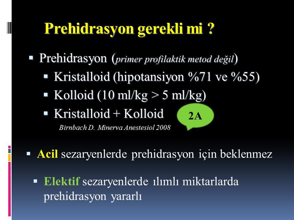 Prehidrasyon  Prehidrasyon ( primer profilaktik metod değil )  Kristalloid (hipotansiyon %71 ve %55)  Kolloid (10 ml/kg > 5 ml/kg)  Kristalloid +