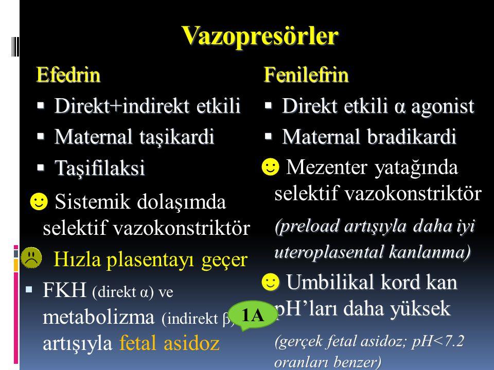 Vazopresörler Efedrin  Direkt+indirekt etkili  Maternal taşikardi  Taşifilaksi Fenilefrin  Direkt etkili α agonist  Maternal bradikardi ☻ Sistemi