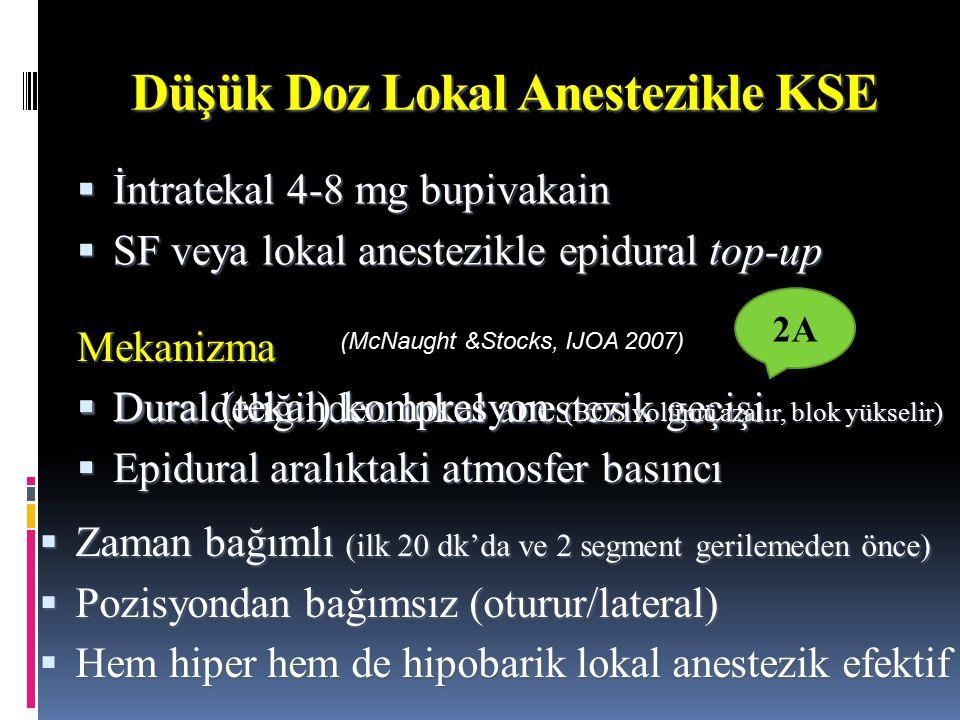 Düşük Doz Lokal Anestezikle KSE  İntratekal 4-8 mg bupivakain  SF veya lokal anestezikle epidural top-up DDDDura deliğinden lokal anestezik geçişi  Dural (tekal) kompresyon (BOS volümü azalır, blok yükselir)  Epidural aralıktaki atmosfer basıncı  Zaman bağımlı (ilk 20 dk'da ve 2 segment gerilemeden önce)  Pozisyondan bağımsız (oturur/lateral)  Hem hiper hem de hipobarik lokal anestezik efektif Mekanizma (McNaught &Stocks, IJOA 2007) 2A