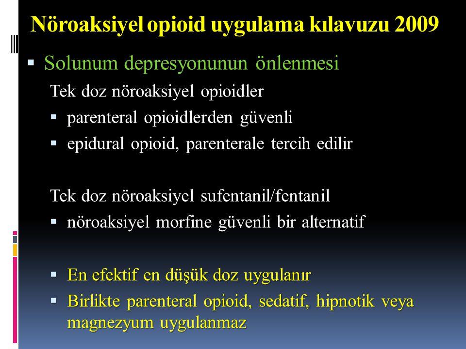 Nöroaksiyel opioid uygulama kılavuzu 2009  Solunum depresyonunun önlenmesi Tek doz nöroaksiyel opioidler  parenteral opioidlerden güvenli  epidural opioid, parenterale tercih edilir Tek doz nöroaksiyel sufentanil/fentanil  nöroaksiyel morfine güvenli bir alternatif  En efektif en düşük doz uygulanır  Birlikte parenteral opioid, sedatif, hipnotik veya magnezyum uygulanmaz