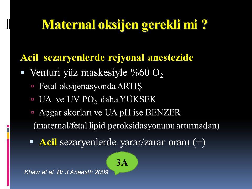 Maternal oksijen Acil sezaryenlerde rejyonal anestezide  Venturi yüz maskesiyle %60 O 2  Fetal oksijenasyonda ARTIŞ  UA ve UV PO 2 daha YÜKSEK  Apgar skorları ve UA pH ise BENZER (maternal/fetal lipid peroksidasyonunu artırmadan) Khaw et al.