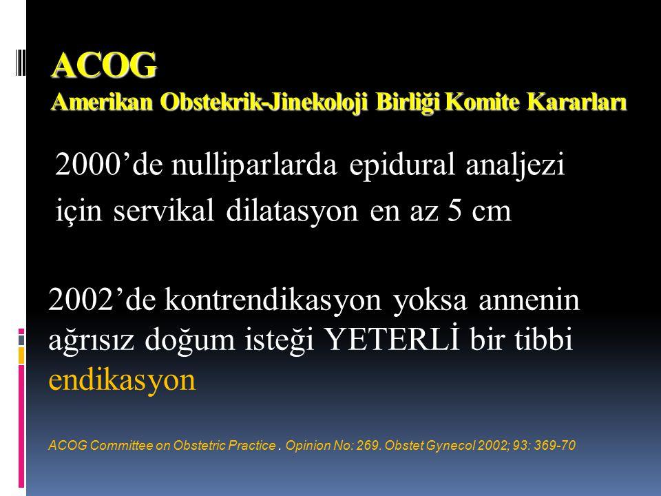ACOG Amerikan Obstekrik-Jinekoloji Birliği Komite Kararları 2000'de nulliparlarda epidural analjezi için servikal dilatasyon en az 5 cm 2002'de kontre