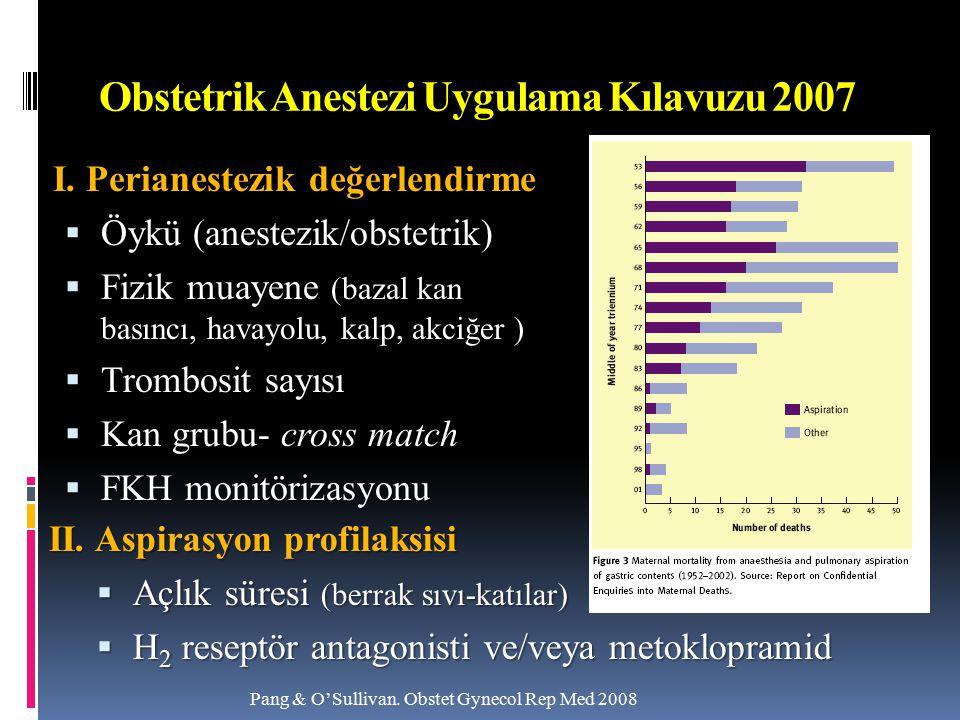 Obstetrik Anestezi Uygulama Kılavuzu 2007 I. Perianestezik değerlendirme  Öykü (anestezik/obstetrik)  Fizik muayene (bazal kan basıncı, havayolu, ka