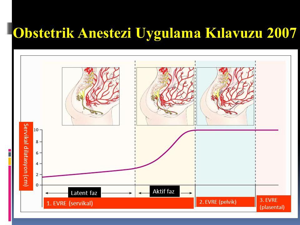 Travay/Doğumda Nöroaksiyel Teknikler Epidural ≈10 mL 2 µg/mL fentanil ile %0.0625-0.1 plain bupivakain KSE ( Kombine Spinal Epidural) İntratekal 15-25 µg fentanil ve/veya 1.66-2.5 mg plain bupivakain HKEA Analjezi daha hızlı başlar Ambulasyona olanak verir Serviks daha hızlı dilate olur Operatif doğum ve sezaryen oranı benzer Epidural test dozu 5 µg/mL adrenalinli 3 mL %1.5 lidokain 3A 2A