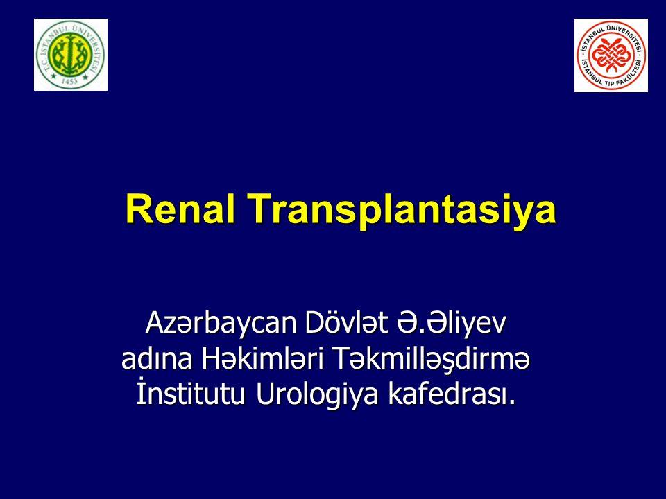 Renal Transplantasiya Renal Transplantasiya Azərbaycan Dövlət Ə.Əliyev adına Həkimləri Təkmilləşdirmə İnstitutu Urologiya kafedrası.