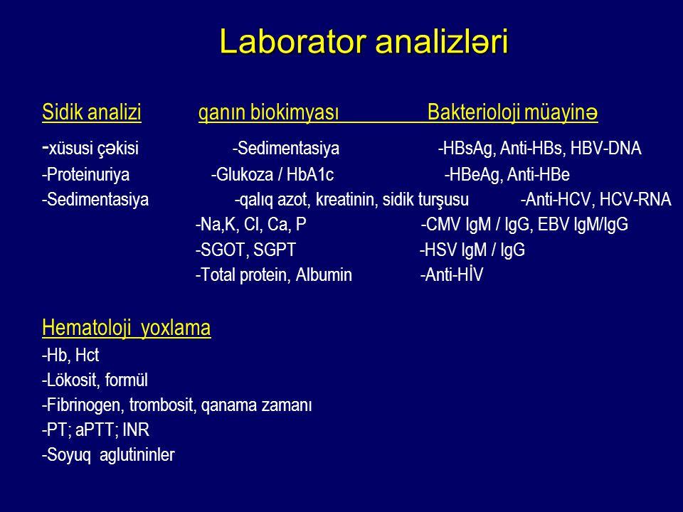 Laborator analizləri Laborator analizləri Sidik analizi qanın biokimyası Bakterioloji müayin ə - xüsusi ç ə kisi -Sedimentasiya -HBsAg, Anti-HBs, HBV-