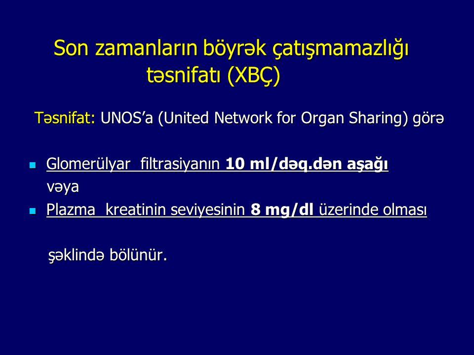 Son zamanların böyrək çatışmamazlığı təsnifatı (XBÇ) Son zamanların böyrək çatışmamazlığı təsnifatı (XBÇ) Təsnifat: UNOS'a (United Network for Organ S