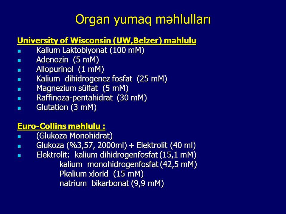 Organ yumaq məhlulları University of Wisconsin (UW,Belzer) məhlulu Kalium Laktobiyonat (100 mM) Kalium Laktobiyonat (100 mM) Adenozin (5 mM) Adenozin