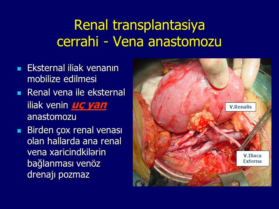 Renal transplantasiya cerrahi - Vena anastomozu Eksternal iliak venanın mobilize edilmesi Eksternal iliak venanın mobilize edilmesi Renal vena ile eks