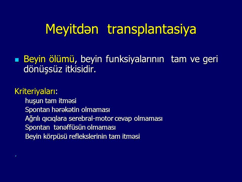 Meyitdən transplantasiya Beyin ölümü, beyin funksiyalarının tam ve geri dönüşsüz itkisidir. Beyin ölümü, beyin funksiyalarının tam ve geri dönüşsüz it