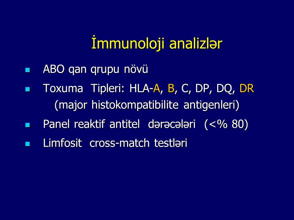 Laborator analizləri Laborator analizləri Sidik analizi qanın biokimyası Bakterioloji müayin ə - xüsusi ç ə kisi -Sedimentasiya -HBsAg, Anti-HBs, HBV-DNA -Proteinuriya -Glukoza / HbA1c -HBeAg, Anti-HBe -Sedimentasiya -qalıq azot, kreatinin, sidik turşusu -Anti-HCV, HCV-RNA -Na,K, Cl, Ca, P -CMV IgM / IgG, EBV IgM/IgG -SGOT, SGPT -HSV IgM / IgG -Total protein, Albumin -Anti-HİV Hematoloji yoxlama -Hb, Hct -Lökosit, formül -Fibrinogen, trombosit, qanama zamanı -PT; aPTT; INR -Soyuq aglutininler