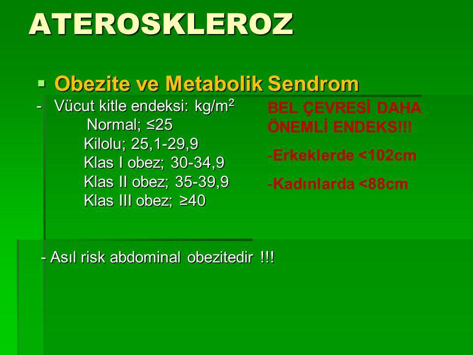 ATEROSKLEROZ  Obezite ve Metabolik Sendrom - Vücut kitle endeksi: kg/m 2 Normal; ≤25 Normal; ≤25 Kilolu; 25,1-29,9 Kilolu; 25,1-29,9 Klas I obez; 30-