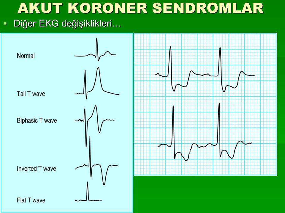 AKUT KORONER SENDROMLAR  Diğer EKG değişiklikleri…