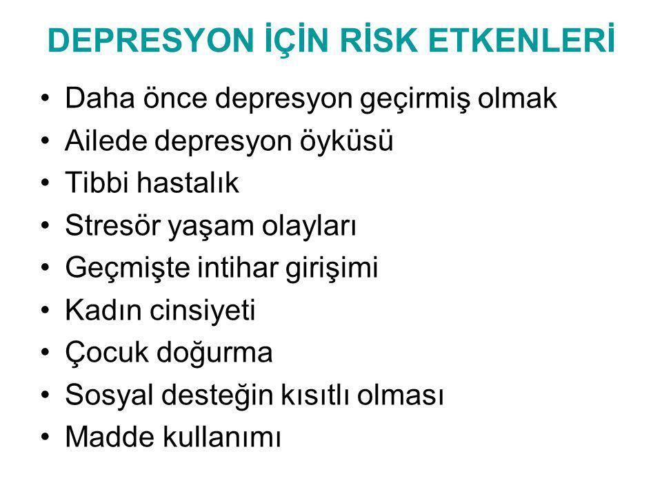 DEPRESYON İÇİN RİSK ETKENLERİ Daha önce depresyon geçirmiş olmak Ailede depresyon öyküsü Tibbi hastalık Stresör yaşam olayları Geçmişte intihar girişi