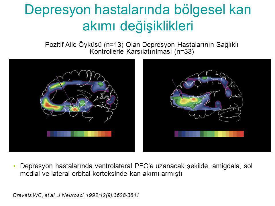 Depresyon hastalarında bölgesel kan akımı değişiklikleri Pozitif Aile Öyküsü (n=13) Olan Depresyon Hastalarının Sağlıklı Kontrollerle Karşılatırılması