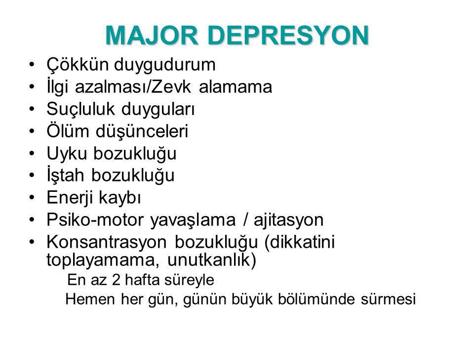 MAJOR DEPRESYON Çökkün duygudurum İlgi azalması/Zevk alamama Suçluluk duyguları Ölüm düşünceleri Uyku bozukluğu İştah bozukluğu Enerji kaybı Psiko-mot