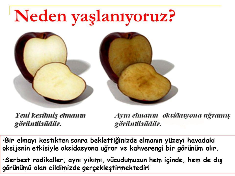 Bir elmayı kestikten sonra beklettiğinizde elmanın yüzeyi havadaki oksijenin etkisiyle oksidasyona uğrar ve kahverengi bir görünüm alır.